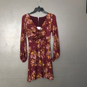 NWT free people long sleeved floral dress size 0